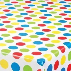 Rond tafelzeil grote polkadots gekleurd (140cm)