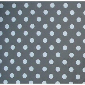 45x140cm Restje tafelzeil donkergrijs met witte stippen
