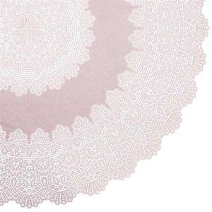 Rond tafelkleed buiten vinyl oud roze 180cm