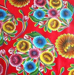 Rond Mexicaans tafelzeil floral rood (120cm)