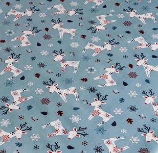 kerst tafelzeil eland blauw