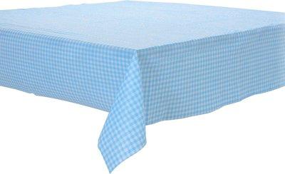 Papieren tafelkleed ruitjes lichtblauw