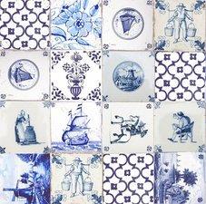 40x140cm Restje tafelzeil Delftsblauwe tegeltjes