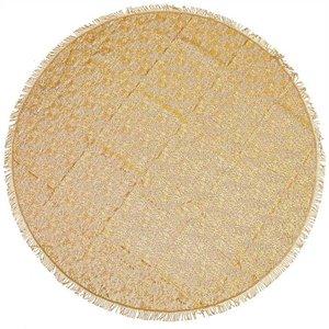 Rond buiten tafelkleed 160cm schuimvinyl okergeel (dikke kwaliteit)