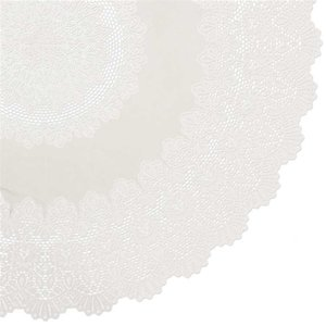 Rond tafelkleed buiten vinyl ivoor 180cm
