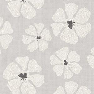 Tafelzeil grote bloemen grijs