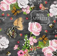 tafelzeil bon appetit vlinders roze